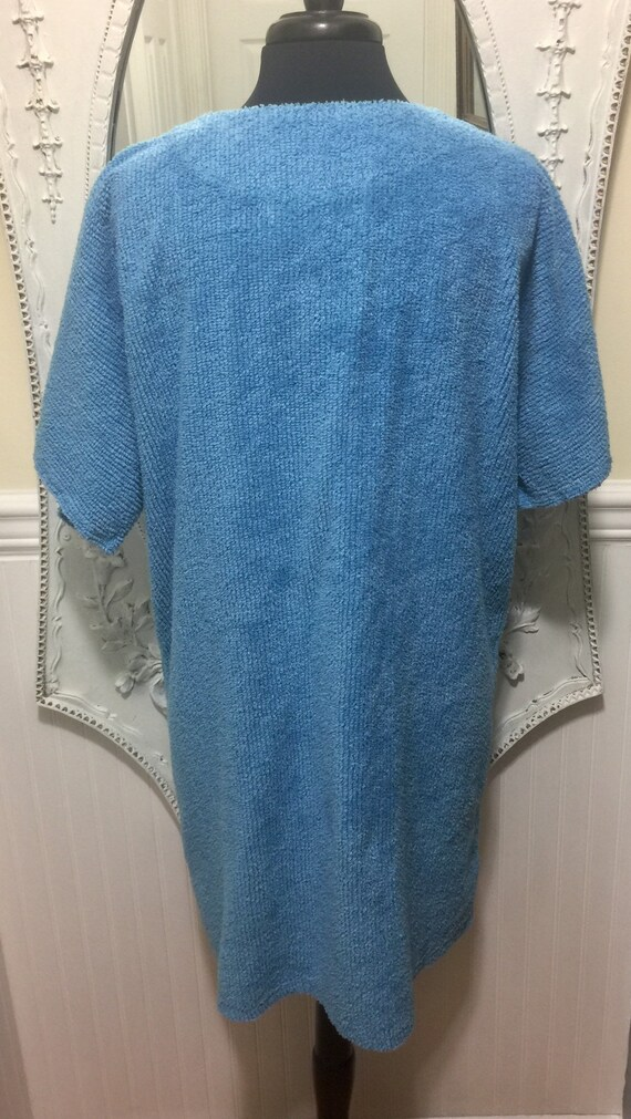 Lovely 'Stan Herman' Blue Chenille Short Robe / S… - image 6