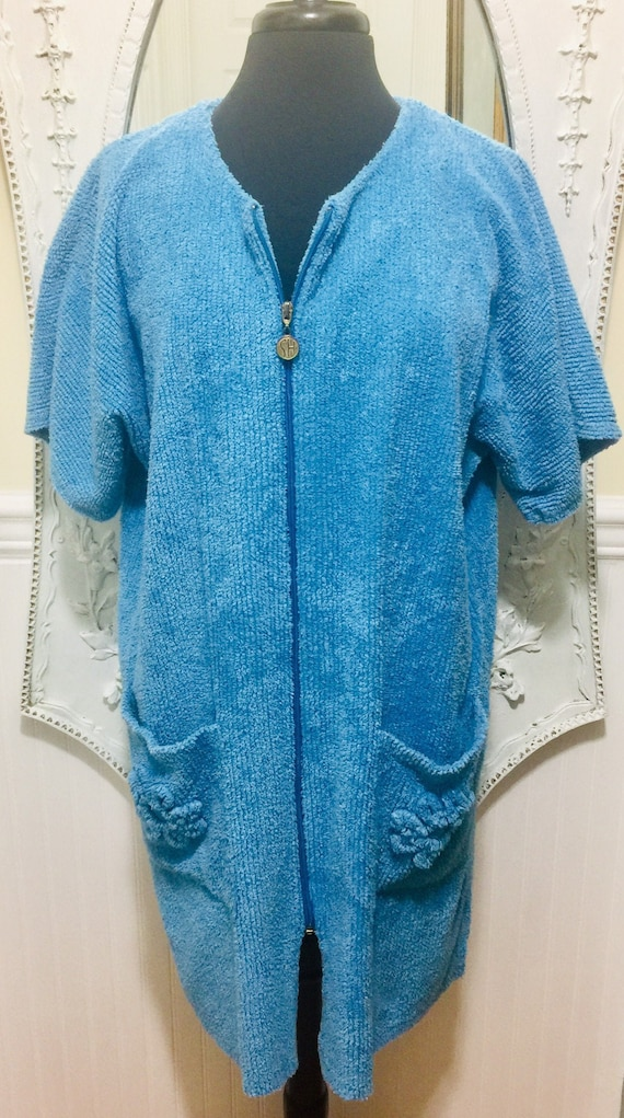 Lovely 'Stan Herman' Blue Chenille Short Robe / Sp