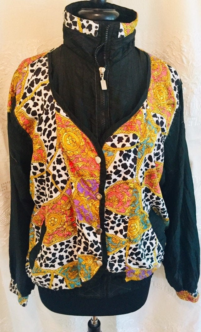 Vintage Scarf Styles -1920s to 1960s FunFunky  Super Groovy 1970s Elastic Waist Disco Statement Jacket Light Weight Wind Breaker By Argee Sports Size Small $6.95 AT vintagedancer.com