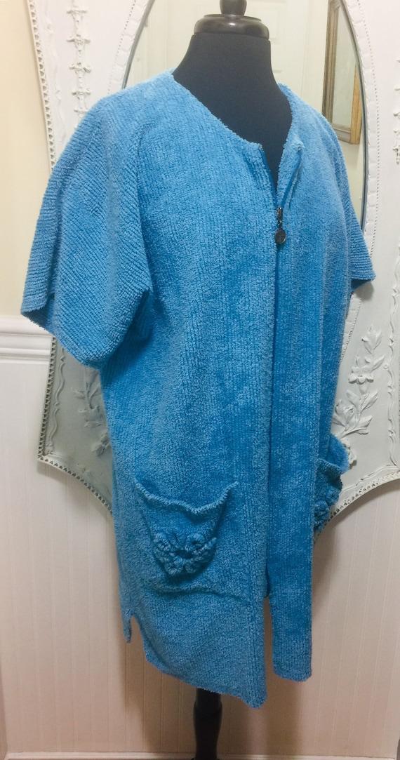 Lovely 'Stan Herman' Blue Chenille Short Robe / S… - image 2