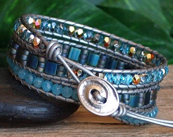 Aquamarine Blue Wrap Bracelet, Beaded Leather Triple Wrap, Tila and Gemstone Beaded Bracelet, Handmade Artisan Bracelet, Gift For Her