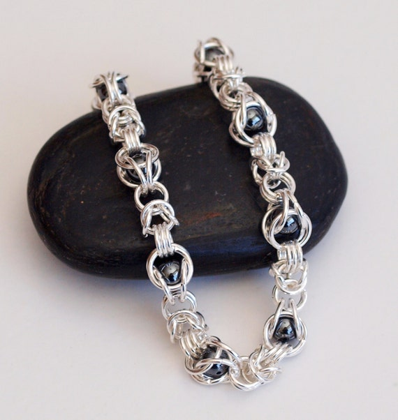 Make A Chain Mail Bracelet: Beaded Chainmaille Bracelet Caged Hematite Bead Bracelet