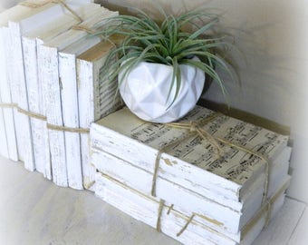 White Decorative Books Vintage Home Decoration Old Book Decor Farmhouse Shabby Chic Bundle Rustic Painted