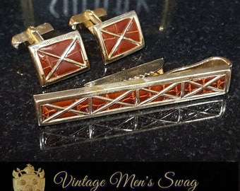 Vintage tie bar by Swank real leather offered by Vintage Men/'s Swag sc-8