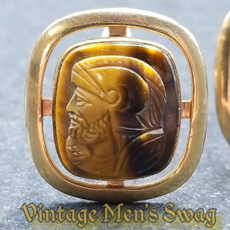 vintage gladiator roman spartan centurian cufflinks by LaMode tigereye cameo offered by Vintage Men/'s Swag Afg-1