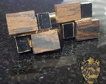 Vintage cufflinks wood Dante' unusual unique one of a kind  offered by Vintage Men's Swag TH-1