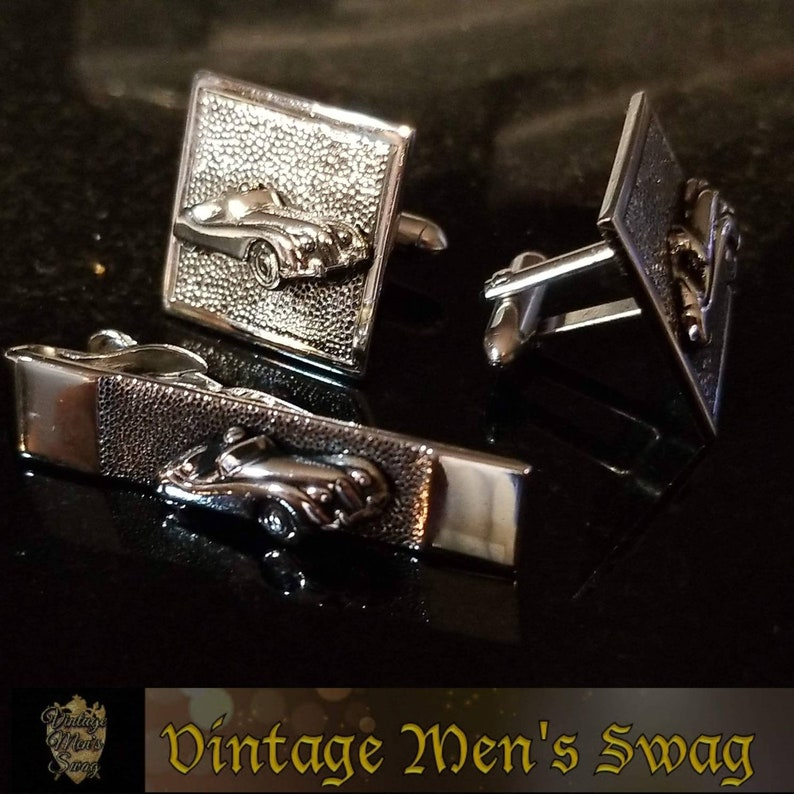 For the car nut Vintage Swank cufflinks tie clip Jaguar or Triumph offered by Vintage Men/'s Swag Bcb-5