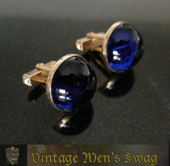 Vintage blue cabochon cufflinks by Swank offered by Vintage Men\u2019s Swag aim-2