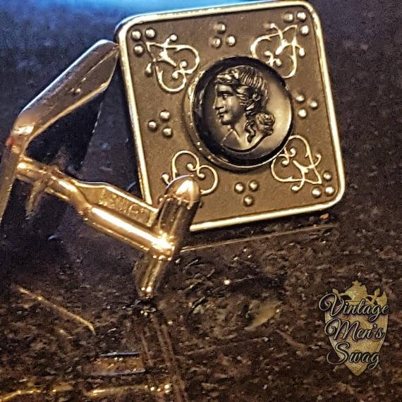 Vintage cufflinks Swank 1950s black hematite cameo Grand Prix Collection Medallion offered by Vintage Men/'s Swag LW-15MR-4