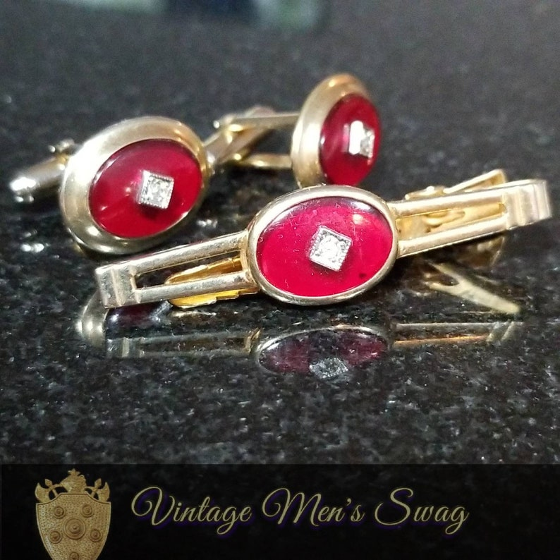 ee24ec129183 Beautiful vintage cufflinks tie clip/bar formal sophisticated | Etsy