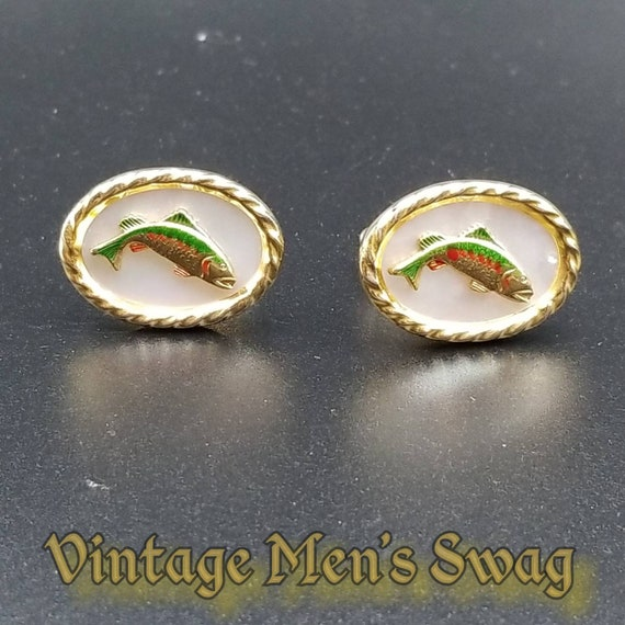 Vintage Anson Cuff Links with Trout Fish and Mother of Pearl Centers