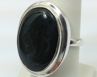 Large Moss agate sterling silver ring.