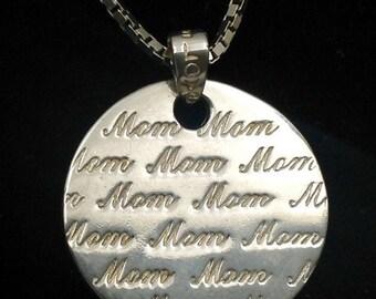 Sterling Love Mom pendant