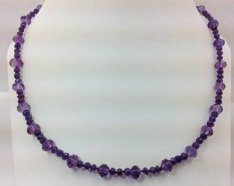 Amethyst bead necklace.
