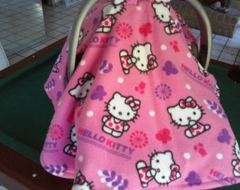 Pink Hello Kitty Infant Carrier Cover Baby Fleece Cartoon Cat Privacy For Car Seat