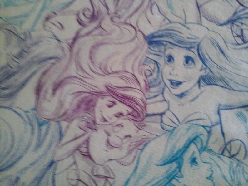 Ariel Pillowcase  White Cotton Ariel Standard  Bedding  The Little Mermaid Pillowcase  Ariel Girl Bed Linen  Flounder Pillowcase