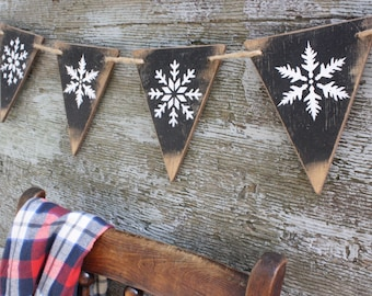 Snowflake Wood Banner Let it Snow Rustic Cabin Decor Lodge Decor Rustic Decor Pennant Tags Signs