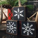Rustic Cabin Decor Wood Snowflake Block Set of 3 Christmas Decor Distressed Wood Shelf Sitter Blocks Snow Sign