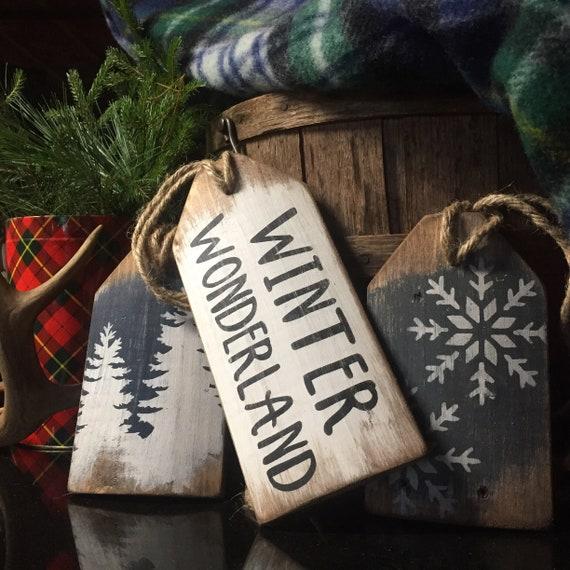 Rustic Christmas Decor Winter Wonderland Signs Snowflake