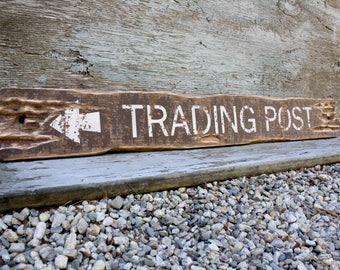Trading Post Sign Rustic Decor Cabin Decor Rustic Wood Sign Lodge Decor Hunting Sign Decor Distressed