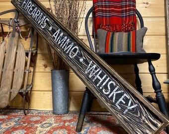 Firearms Ammo Whiskey Sign, Rustic Wood Gun Room Decor, 2nd Amendment , Distressed Bar Decor,  5ft xl merica