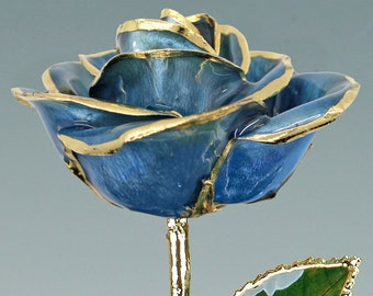 Real Rose Plated in 24k Gold - Gift for Her - Light Blue