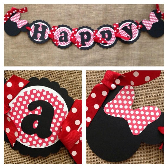 Red Minnie Mouse Birthday Banner Red Minnie Mouse Party Banner Minnie Mouse Party Decorations Minnie Mouse Party Minnie Mouse Banner