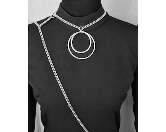 Cross Body Harness - Silver - Choker - Harness - Chain - Avant Garde - Fetish - Necklace - Goth - Witchy - Handmade Jewelry - Body Chain