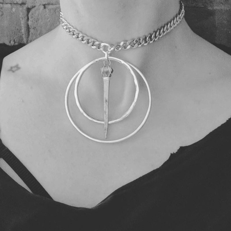 Coffin Nail  Choker  Necklace  Silver  Dark  Witchy  image 0
