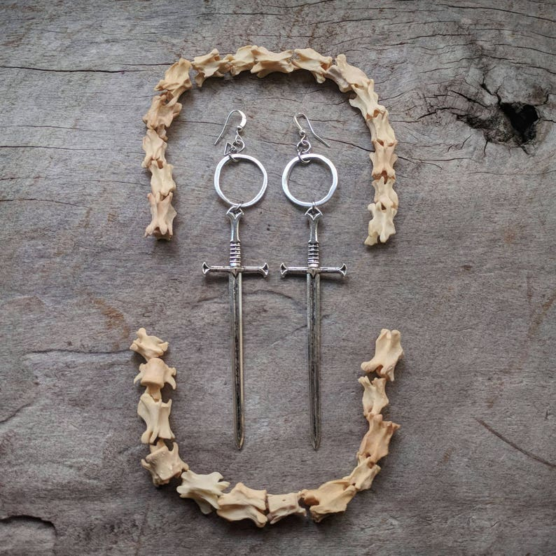 Telum Sword Earrings  Silver  Goth  Jewelry  Witchy  image 0