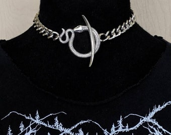 Ouroboros - Choker - Snake - Necklace - Silver - Serpent - Mythology - Witchy - Goth - Gothic - Egyptian - Jewelry - Occult