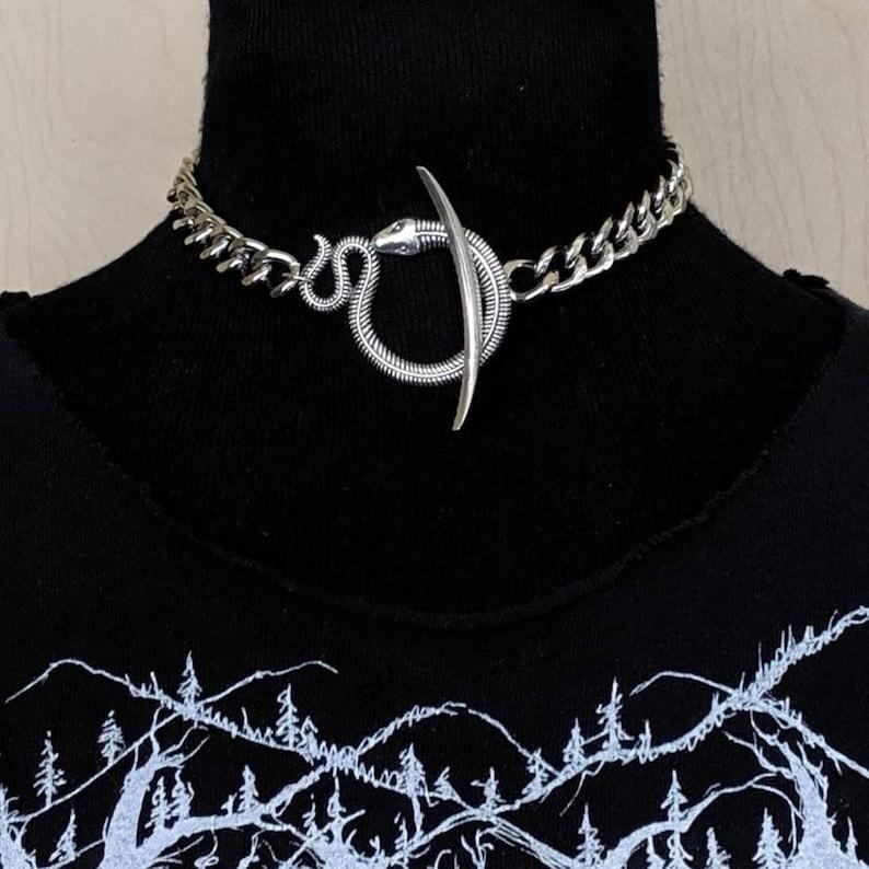 Ouroboros  Choker  Snake  Necklace  Silver  Serpent  image 0