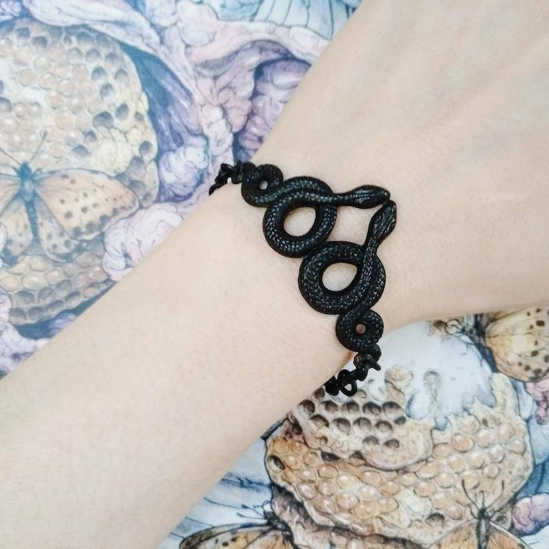 Medusa  Black  Snake   Bracelet  Chain  Dark  Goth  image 0