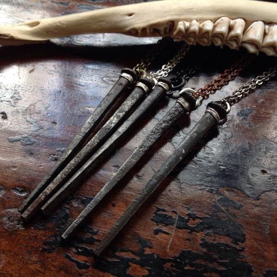 Coffin Nail Necklace Handmade Gothic Goth Vampire Halloween Casket
