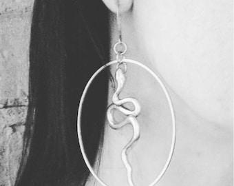 Medusa - Snake - Hoop Earrings - Serpent - Goth - Gift - Gothic - Hoops - Silver - Witchy - Goddess - Dark - Statement
