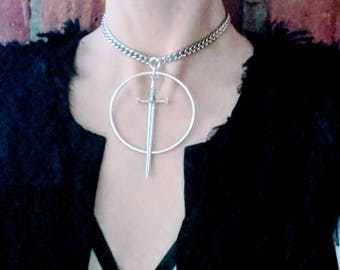 The Telum 2.0 - Choker - Sword - Necklace - Silver - Dagger - Dark - Witchy - Goth - Gothic - Black Metal - Occult - Gift - Jewelry - Unique