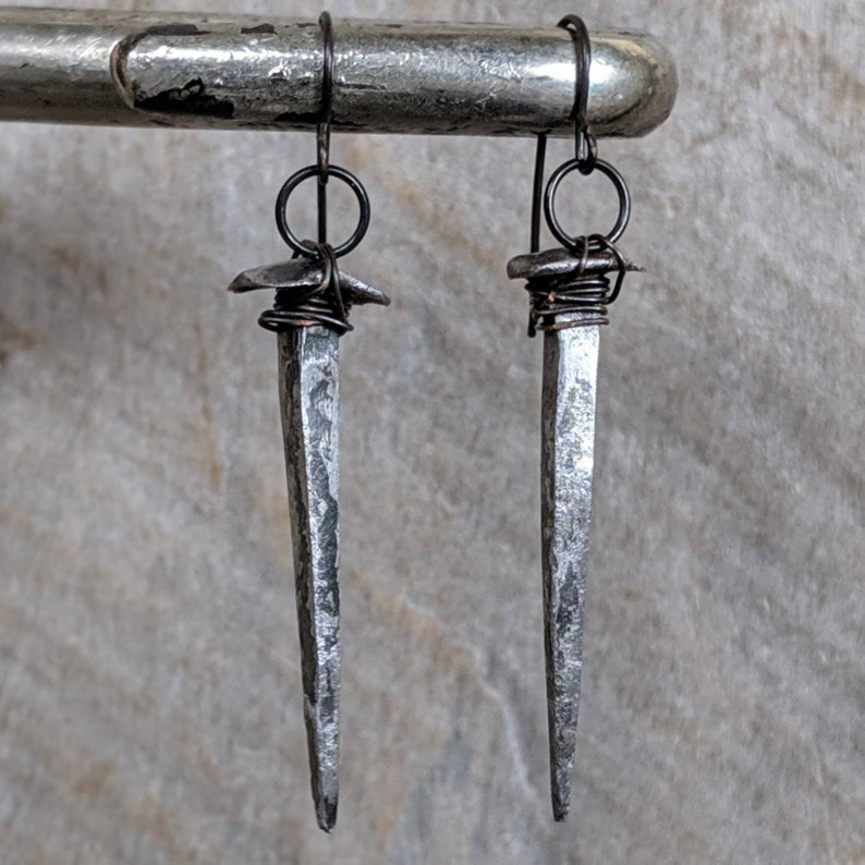 Antique  Coffin Nail  Earrings  Hand Forged  Iron  Goth  image 0