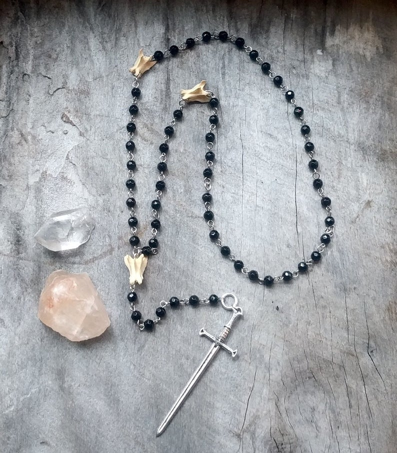 Sword  Rosary  Bone  Necklace  Goth  Gothic  Witchy  image 0