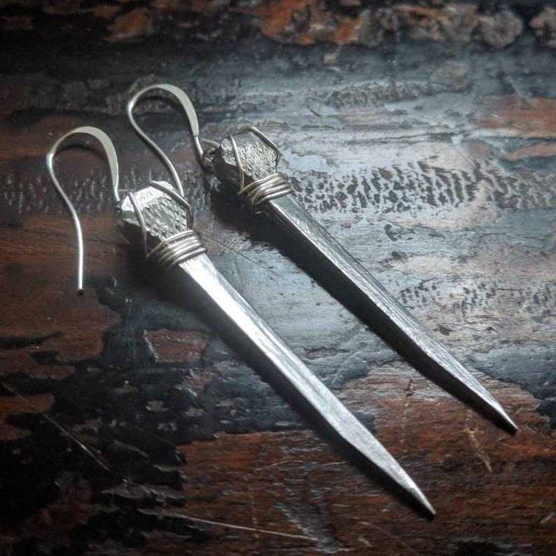 Coffin Nail  Earrings  Vintage  Steel  Goth  Handmade image 0