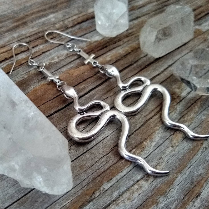 Snake  Earrings  Inverted Cross  Occult  Serpent  Goth  image 0