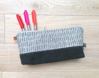BIG PENCIL CASE Grey Geometric Pattern Black Jean In Recycled Fabrics, Makeup Pouch, Pencil Pouch, Travel Case, Toiletry Bag
