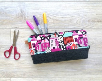 BIG PENCIL CASE Houses And Black Jean In Recycled Fabrics, Makeup Pouch, Pencil Pouch, Travel Case, Toiletry Bag