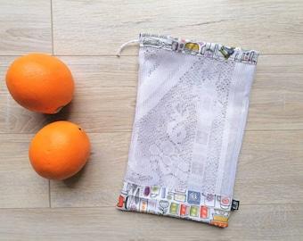 MESH PRODUCE BAG In Recycled Fabrics, Produce Bag, Zero Waste, Food Storage Bag
