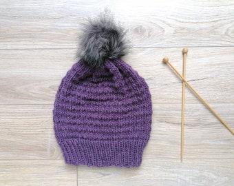 ALPACA BEANIE PURPLE Blend With Pompom, Hand Knitted Blend Purple Wool Hat, Winter Hat, Alpaca Purple Wool Beanie, Unisex