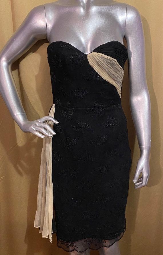 1976 Vintage lace dress w chiffon insets 15a