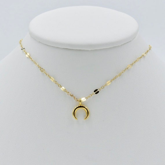 Tiny Gold Crescent Necklace Gold Filled Necklace Simple Etsy