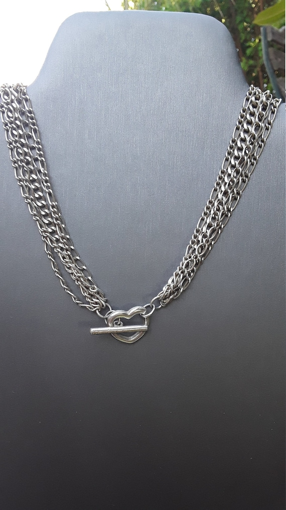 Vintage Heart toggle multi chain Necklace - image 7