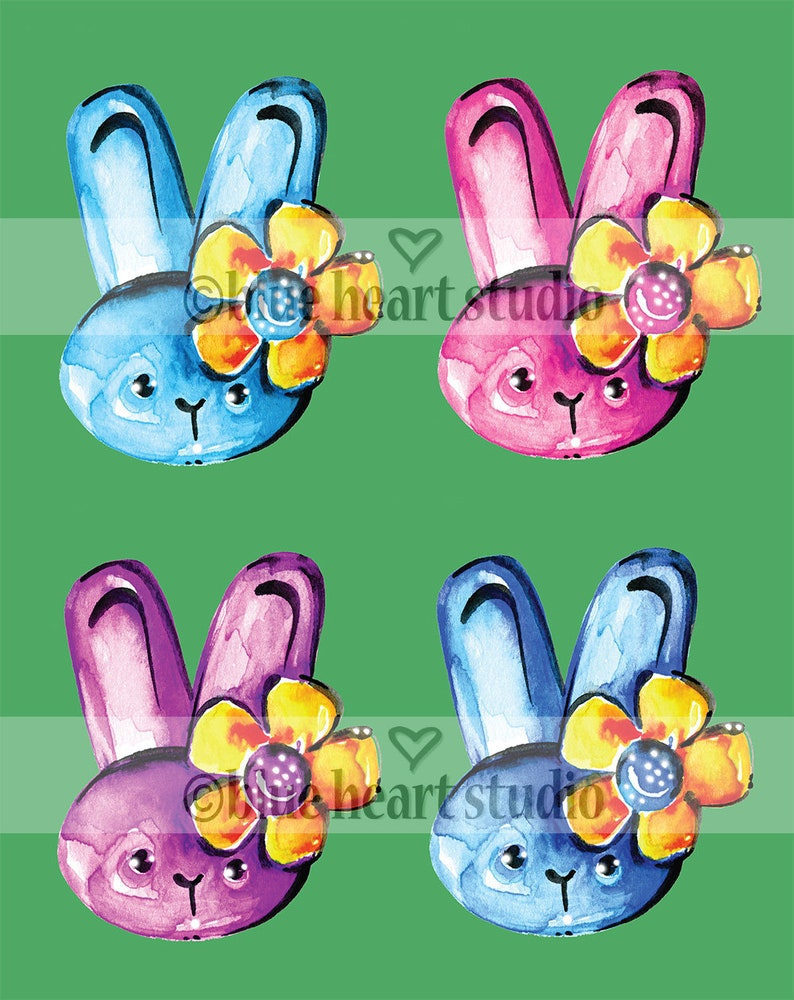 Easter Bunny Rabbit Watercolor Clipart Elements Hand painted NSTANT DOWNLOAD Printable PNG Nursery Room Kathy Morton Stanion Cute Bunnies