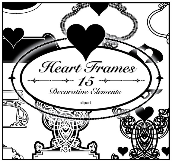 Heart Frames Clipart 15 Elements Valentine\'s Day | Etsy