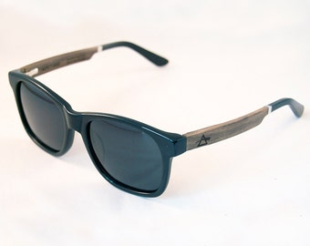 WITCOMBE handcrafted Sunglasses : Black Acetate & Ebony Temples